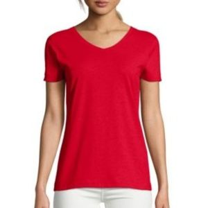 #51 Red Ladies 100% Cotton V Neck Shirt Red Small